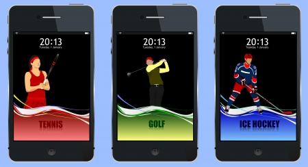 Concept of three sport covers for mobile phone. Vector illustration Vector