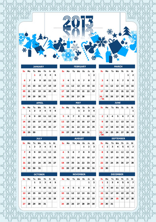 2013 calendar with Christmas images. Vector illustration  Vector