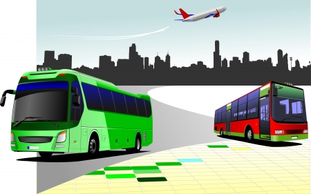 public service: City panorama with two buses and plane images. Coach. Vector illustration Illustration