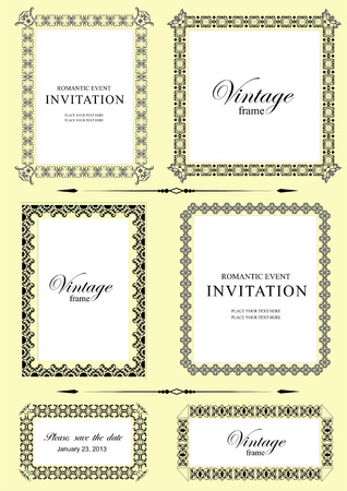 ornaments vector: Collection of vector frames and ornaments with sample text.