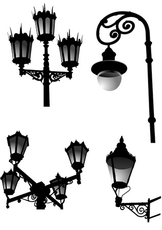streetlight: Street and garden old style lamps. Vector illustration Illustration