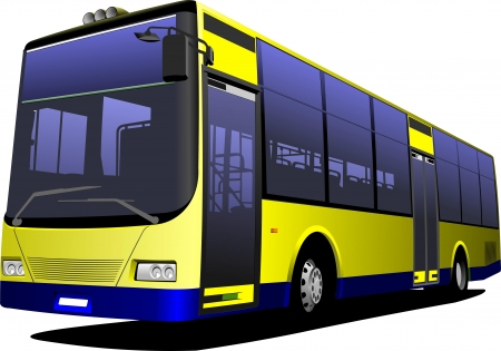tourist bus: Yellow city bus. Coach. Vector illustration