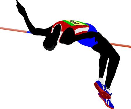 Man hoog springen. Spoor en gebied. Vector illustratie Stock Illustratie