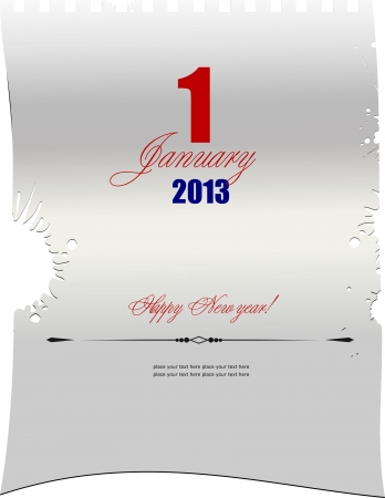 january 1: Blank letter with  date of January, 1. Vector illustration