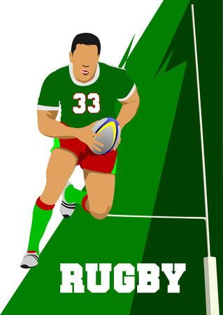 pelota de rugby: Silueta del jugador de Rugby. Ilustración vectorial