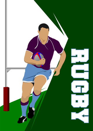 Rugby Player Silhouette. Vector illustration Illustration
