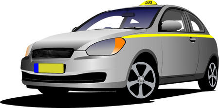 Vector isolated taxi on white background