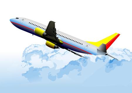 landing light: Airplane on the air. Vector illustration