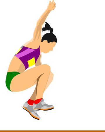 Woman athlete on the Long jump competition. Vector illustration Vector