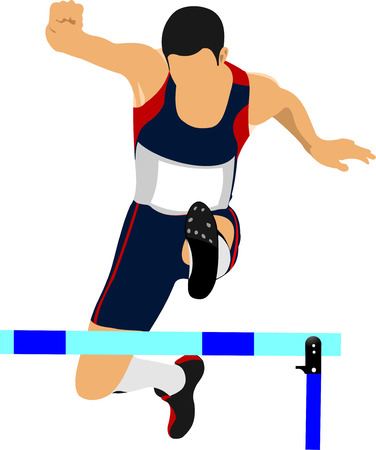 track and field: Illustration of a track and field athlete running jumping the hurdles.