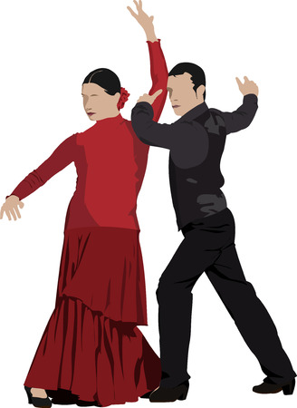 Beautiful young pair dancing flamenco isolated on white. Vector illustration Stock Vector - 23126522