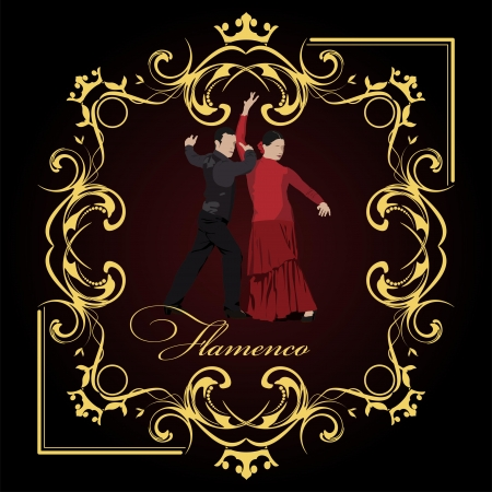 Beautiful young couple dancing flamenco poster. Vector illustration Vector
