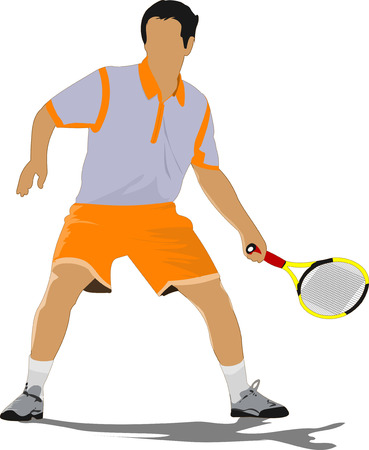 Tennis player. Colored Vector illustration for designers Vector