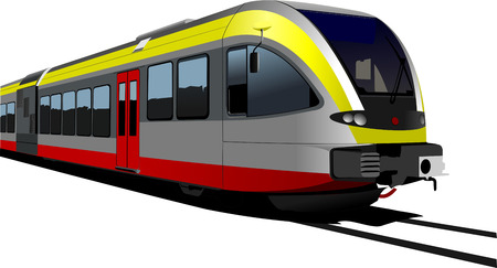 Gray-red-yellow modern speed bullet train. Fast suburban, subway, metro, commuter, hovercraft. Vector illustration. Vector