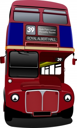 route master bus: London double Decker  red bus. Vector illustration