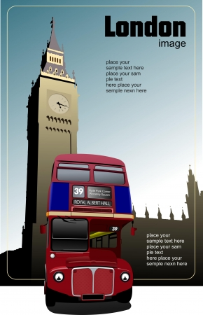 route master bus: London double Decker  red bus on Big Ben background. Vector illustration Illustration
