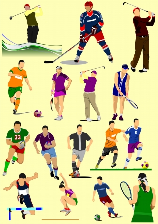 Few kinds of sport games. Football, Ice hockey, tennis, soccer, golf, Rugby.Vector illustration Vector
