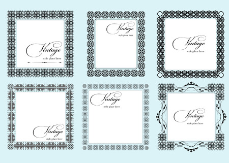 Collection of ornate vintage vector frames with sample text. Perfect as invitation or announcement.  Vector