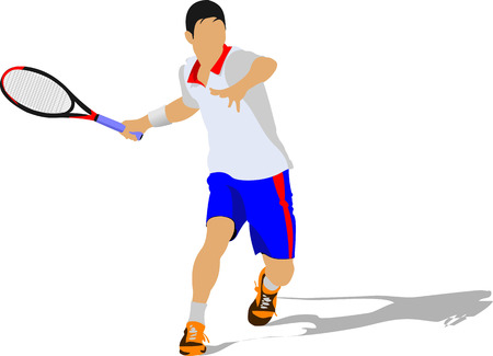 Tennis player. Colored Vector illustration Vector