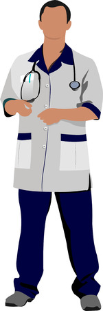 Doctor man with white doctor`s smock. Vector illustration Vector
