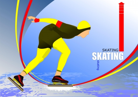 Speed skating poster. Vector illustration Vector