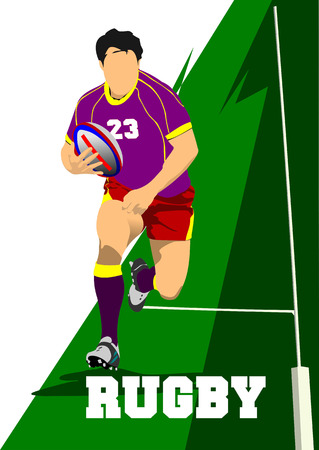 scrum: Rugby Player Silhouette. Vector illustration Illustration