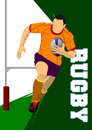 Rugby Player Silhouette. Vector illustration Stock Vector - 23126610