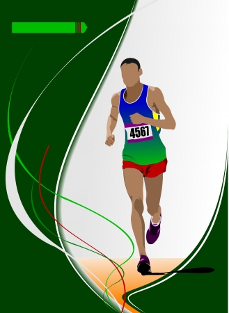 The running man  Track and field  Raterized copy  Vector into portfolio Vector