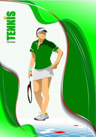 Woman Tennis player poster  Colored Vector illustration for designers Vector