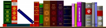 books library: Bookshelf library with books. Vector illustration