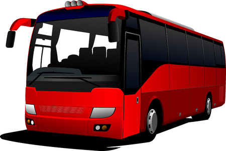 tourist bus: Red city bus. Coach. Vector illustration Illustration