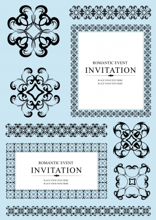 Collection of ornamental rule lines, frames and design elements. Vector illustartion Vector