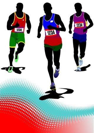 jogging track: The running man. Track and field. Vector illustration Illustration