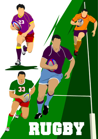 scramble: Collection of Rugby Player Silhouettes. Vector illustration