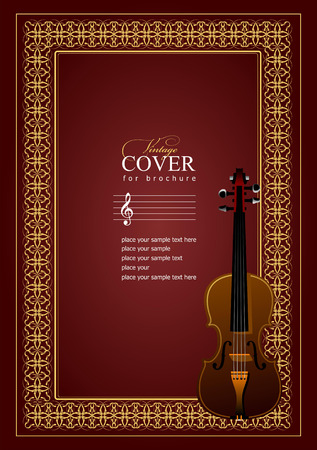 fiddle: Cover  for notes  with violin image in retro style. Vector colored illustration.