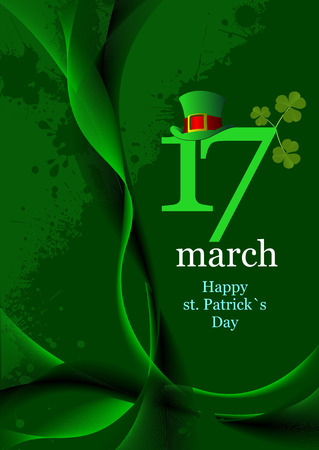 fortunate: Vector of green hats and shamrocks for St. Patricks Day.