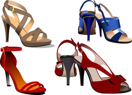 zapatos azules: Moda mujer zapatos de color azul cartel. Ilustraci�n vectorial