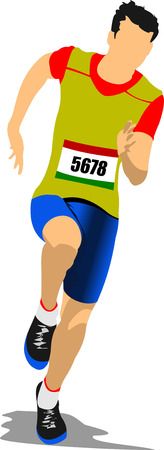 track and field: The running man. Track and field. Vector illustration Illustration