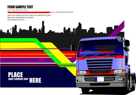 Zusammenfassung hallo-Tech Hintergrund mit blauer LKW-Bild. Vektor-Illustration Vektorgrafik