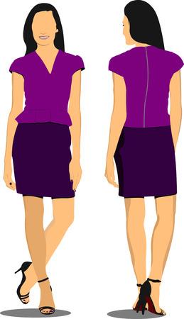 cute lady: Cute lady in purple. Vector illustration