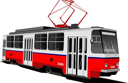 tramcar: City transport. Tram. Colored Vector illustration for designers Illustration