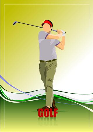 golfer swinging: Golf player poster. Vector illustration
