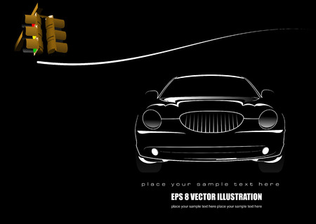 flown: White silhouette of car on black background with traffic light image. Vector illustration