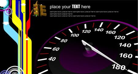 kph: Speedometer. Accelerating Dashboard. Vector illustrator Illustration