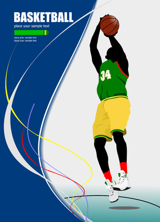 Basketball playe poster. Vector illustration Vector
