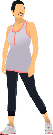 duffle: Young woman in sport suit. Duffle. Vector illustration