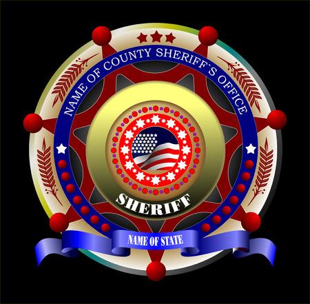 sheriffs: Sheriffs badge on a black background. Vector illustration