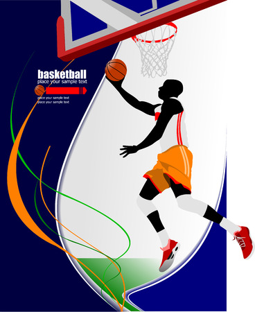 Basketball players poster. Vector illustration