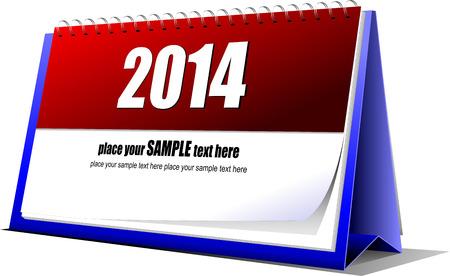 illustration of desk calendar. 2014 year Vector
