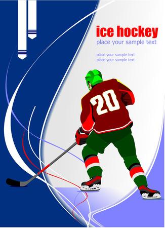 ice hockey player: Ice hockey player poster.  Illustration